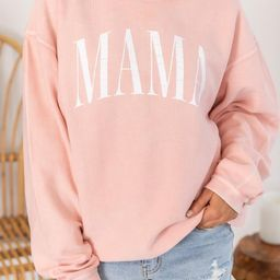 Mama Vintage Corded Graphic Pink Sweatshirt   The Pink Lily Boutique