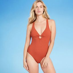 Women's Ribbed Ring Front One Piece Swimsuit - Kona Sol™ Cinnamon Orange | Target