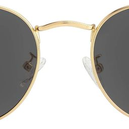 Small Round Polarized Sunglasses for Men Women Mirrored Lens Classic Circle Sun Glasses | Amazon (US)