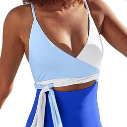 ESONLAR Women's Plunge V Neck Wrap Tie Belted Cutout One Piece Swimsuits | Amazon (US)