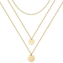Forevereally Dainty Disc Chokers Necklace Layered Circle Necklace Bar Y Pendant Necklace 14K Real...   Amazon (US)
