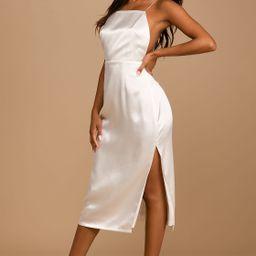 Adoring Attitude White Satin Column Midi Dress   Lulus (US)