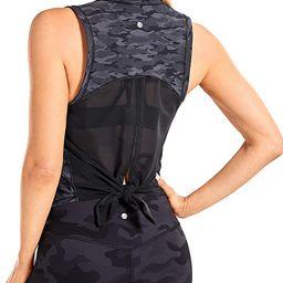 CRZ YOGA Women's Breezy Feeling Mesh Running Tank Tops Workout Gym Shirts Tie Back Yoga Clothes | Amazon (US)