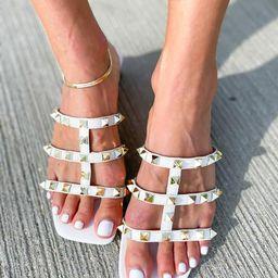 'Ariana' Square Toe Studded Strap Cream Sandals | Goodnight Macaroon