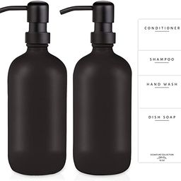 Emerson Essentials Thick Glass Soap Bottle Dispensers, 2 Pack, Hand Set for Bathroom Kitchen Sink... | Amazon (US)