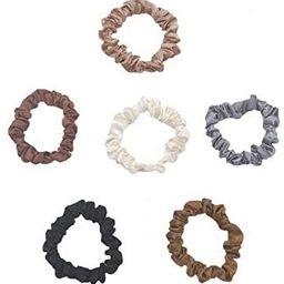 6 Pcs Silk Hair Scrunchies Soft & Comfortable Small Silk Scrunchy Skinny Hair Ties Bows Ropes Ela... | Amazon (US)