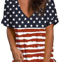 SAMPEEL Womens Floral Tops Short Sleeve V Neck Tee T Shirt Printed Side Split Tunic | Amazon (US)