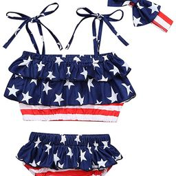 4th of July Infant Baby Girl Swimsuit Ruffle Stars Strap Top and Bikinis Skirt with Headband 3 Pi... | Amazon (US)