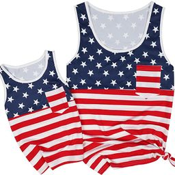 UNIQUEONE 4th of July Mommy and Me American Flag Star Striped Tank Tops Sleeveless Tank Blouse | Amazon (US)