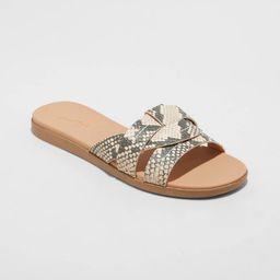 Women's Wide Width Kenzie Snake Print Slide Sandals - Universal Thread Gray 5W | Target