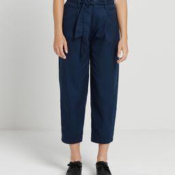 Frank and Oak Women's Casual Pants Blue - Blue Pleated Crop Paper Bag Pants - Women | Zulily