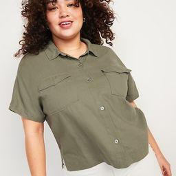 Linen-Blend Utility-Pocket Short-Sleeve Shirt for Women | Old Navy (US)