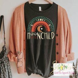 Moon Child t-shirt  Bohemian tshirt  Moon rainbow shirt  | Etsy | Etsy (US)
