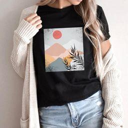 Boho shirt, mountain shirt, floral tee, sunrise tee, minimalistic t-shirt, desert dreaming shirt,... | Etsy (US)