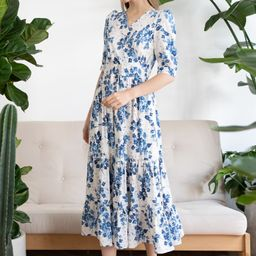 Blue Floral Printed Wrap Frilling Dress | Chicwish