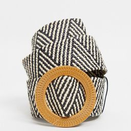 French connection woven belt with circle buckle in black and white-Multi | ASOS (Global)