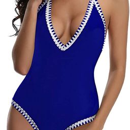 Tempt Me Women One Piece Vintage Deep V Neck Halter Backless Monokini Swimsuits | Amazon (US)