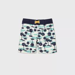 Toddler Boys' Palm Print Swim Trunks - Cat & Jack™ Blue/White   Target