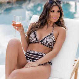Sailing Through Paradise Leopard Print Bikini Top   The Pink Lily Boutique