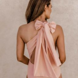 CAITLIN COVINGTON X PINK LILY The Capri One Shoulder Blush Open Back Swimsuit   The Pink Lily Boutique