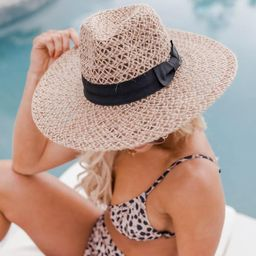 A Shady Spot Black Band Sun Hat   The Pink Lily Boutique