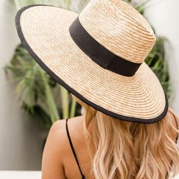 Sun Rays Black Band Straw Hat   The Pink Lily Boutique