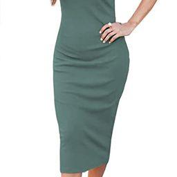 TongKiKi Women Casual Summer Sleeveless Crew Neck Button Down Basic Bodycon T Shirt Dress | Amazon (US)