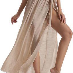 Eicolorte Beach Sarong Pareo Womens Semi-Sheer Swimwear Cover Ups Short Skirt with Tassels | Amazon (US)