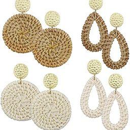 AIDSOTOU Rattan Earrings for Women Lightweight Geometric Statement Earrings Handmade Straw Wicker... | Amazon (US)