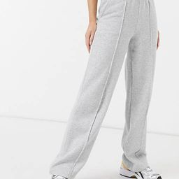 Pieces wide leg sweatpants with front seam in light gray - part of a set   ASOS (Global)