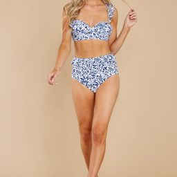 Moments In The Sand Navy Floral Print Bikini Top | Red Dress
