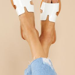 Make Things Easy White Crocodile Print Sandals | Red Dress