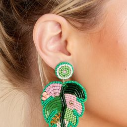 Palm Leaf Green Multi Beaded Earrings | Red Dress