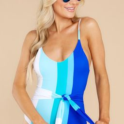 By The Beach Blue Multi Stripe One Piece Swimsuit   Red Dress