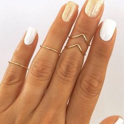 4 Midi Rings in Gold, Chevron and Simple Band Midi Rings. Wear these non tarnish mid knuckle stac...   Etsy (US)
