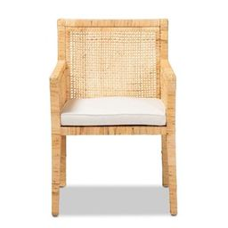 Baxton Studio Karis Natural and White Arm Chair-185-11869-HD - The Home Depot   The Home Depot