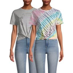 No Boundaries Juniors Tie Dye and Screen Front T-Shirt Bundle Pack, 2-Piece | Walmart (US)