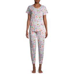 Secret Treasure's Women's Graphic Print Pajama Set, 2-Piece | Walmart (US)
