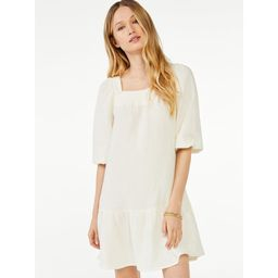 Scoop Women's A-Line Short Dress with Puff Sleeves | Walmart (US)