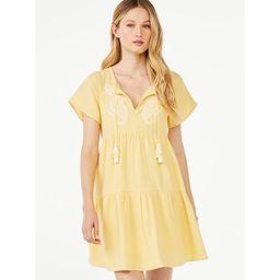 Scoop Women's Short Sleeve A-Line Short Dress with Tassels | Walmart (US)