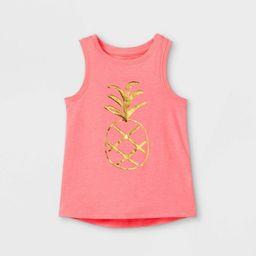 Toddler Girls' Sparkle Pineapple Graphic Tank Top - Cat & Jack™ Neon Pink | Target