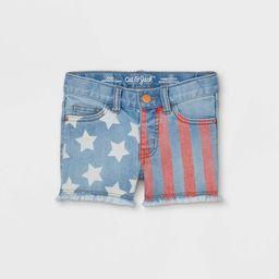 Toddler Girls' Flag Jean Shorts - Cat & Jack™ Light Blue | Target