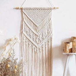 Boho Macrame Wall Hanging White 15 X 34 GIFT Made with 100% Cotton Rope Bohemian Home Natural Woo... | Etsy (US)