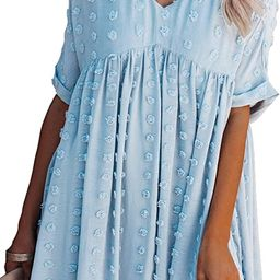 ECOWISH Women Summer Dress V-Neck Polka Dot Short Sleeve Casual Loose Flowy Swing Tunic Dresses | Amazon (US)
