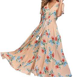 VintageClothing Women's Floral Maxi Dresses Boho Button Up Split Beach Party Dress | Amazon (US)