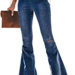 Sidefeel Women Destoryed Flare Jeans Elastic Waist Bell Bottom Raw Hem Denim Pants | Amazon (US)