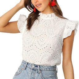 Romwe Women's Sleeveless Ruffle Stand Collar Embroidery Button Slim Blouse Top   Amazon (US)
