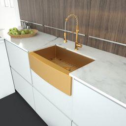 SL-H-LAG3621R1 36 Inch Farmhouse Kitchen Sink Gold Apron Front 16 Gauge Stainless Steel Deep Sing...   Wayfair North America