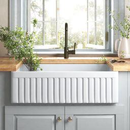 "Dorn 33"" L x 18"" W Farmhouse Kitchen Sink with Grid and Strainer   Wayfair North America"