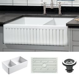 """Dorn 33"""" L x 18"""" W Double Basin Farmhouse Kitchen Sink with Grid and Strainer   Wayfair North America"""